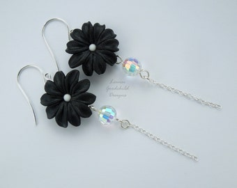 Black Daisy drop earrings, daisy earrings, black and silver, long earrings, classic black, flower earrings, sterling silver