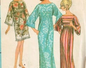 60s Robe or Dress Pattern McCalls 8506 Size 10 Bust 31 Boat Necked Wide Sleeved Summer Boho Maxi Dress Uncut 1966 Vintage Sewing Pattern