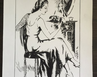 Vintage original art student illustration from 1940s