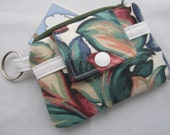 Zippy Wallet Pouch Key Floral Green  Card holder -