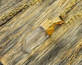 Valentine SALE - Small Crystal Necklace, Crystal Pendant Necklace, Crystal Gold Necklace, Clear Crystal Point Necklace, 14k Gold Fill Chain