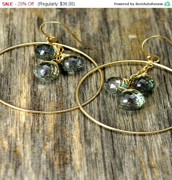 SALE 20% Off - Mystic Green Quartz Gemstone Gold Hoop Wire Wrapped Earrings