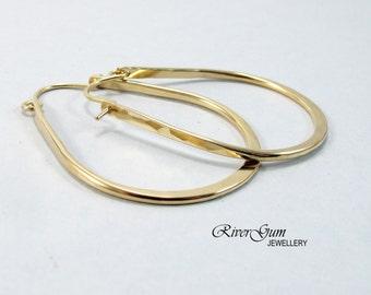 Gold Filled Hoop Earrings, Hoop Earrings Gold Filled, Gold Hoop Earrings, Teardrop Shape, Hammered Hoops, Extra Large Hoops, Contemporary