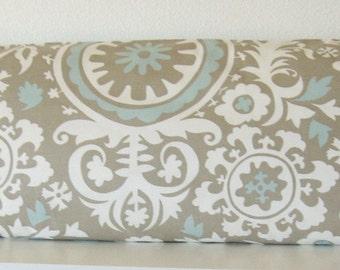 Body pillow cover - Swirls - Suzani - Light blue - Soft taupe - 20x54 - Decorative - Body pillow case