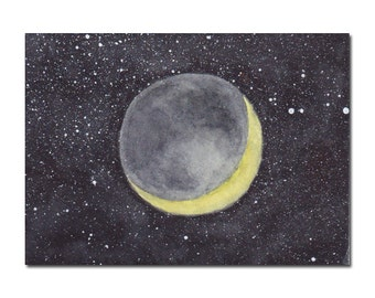 Crescent Moon ACEO Original Watercolor Painting, Miniature Painting, Miniature Art, Stars, Space, Galaxy, Night Sky