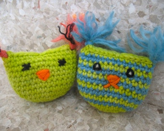 TWO High Quality organic Catnip/Valerian Cat Toy Pouch Owl and Cat by Catopia9, hand-crochet, wool/bamboo yarn. FREE SHIPPING