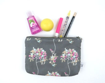 Small Zipper Pouch - Cherie - makeup case, make up bag, zipper pouch, project bag, cosmetic case, Bible Journal, pen case