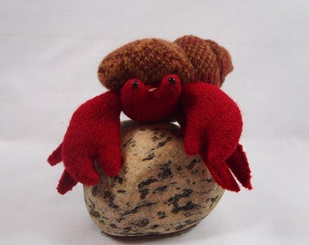 Toy hermit crab, waldorf toy, eco friendly toy