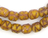 50 Amber Oval Patterned Krobo Beads - Painted Glass Beads - Yellow Glass Beads - Tribal Glass Beads - Krobo Glass Beads (KRB-OVL-BRN-73)