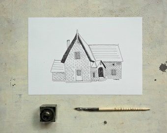 black  house original  ink illustration  - original painting - wall art