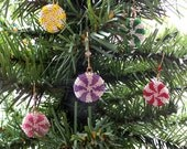 Christmas Candy Ornaments tree decorations set of 5 pinwheel red yellow pink green purple