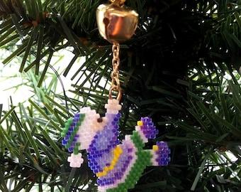 Beadwork Christmas ornament, elf charm, bead weaving loom stitch jingle bell holiday tree decoration