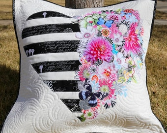 MarveLes PAPER PATTERN City Chic for COLLAGE Black White Stripes Pillow Floral Home Decor