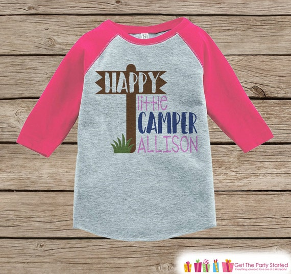 Girl's Happy Little Camper Outfit Pink Raglan Shirt