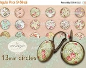 30% OFF SALE - Shabby Chic Flower Collection Digital Circle 13 mm - micro slides, Digital Collage Sheet for 12 mm pairs of earrings