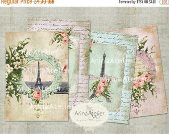30% OFF SALE Charming Spring Paris ATC Cards - Digital Atc Cards - Digital Tags - Digital Download Sheet - Shabby chic cards