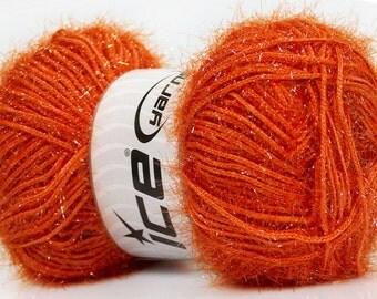 ice yarns sparkle dark orange lurex metallic yarn shimmering worsted afghan aran medium 100 gr ships from usa at usps cost 35779