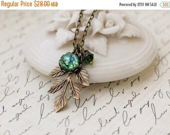 Woodland Leaf Necklace. Green Opal.