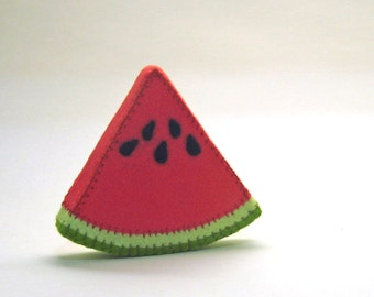 Wool Felt Play Food - Watermelon Wedge - Waldorf Inspired Pretend Kitchen or Market Accessory for Imaginative Play