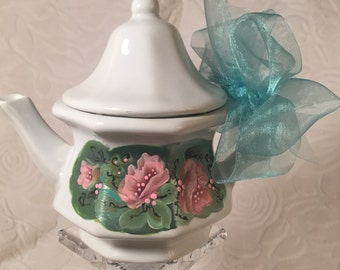 sale   ...now  7.50  Was... 10.00   Hand Painted glass pitcher, Spring Cleaning...... pedestal Not included