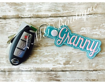 Granny Key chain, Fob Embroidered Snap Tab, Granny Key Fob, Embroidere Snap Tab, Mothers Day gift