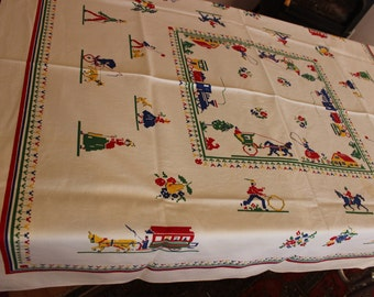 """Leacock Hand Prints 53"""" x 48"""" Tablecloth Americana VINTAGE by Plantdreaming"""