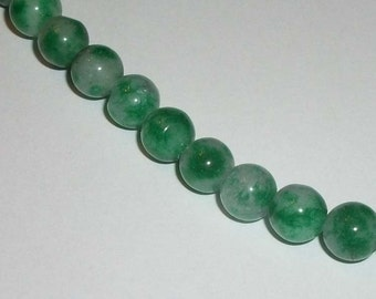 Malaysia Jade, Green and white 8mm Gemstone Rounds 1 strand