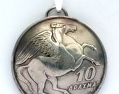 1973 Made In Greece Greek Birth Year Coin Jewelry Necklace Pendant 43rd Anniversary Birthday Gift Pegasus Winged Horse Pendant or Keychain