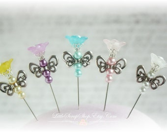 Trumpet Flutterby Stick Pins for Scrapbooking,Cardmaking or Mini Albums, Wearables, Sewing