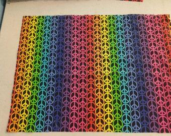 Rainbow Peace Sign Fabric  245438
