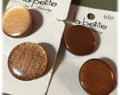 """4 Vintage Buttons, La Petite, Round Gold Copper Buttons, Shimmery Buttons, 7/8"""" As New on Cards"""