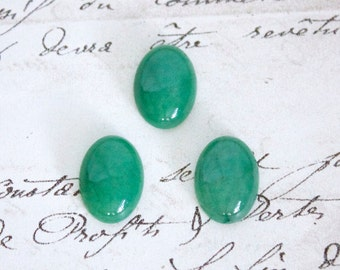 Oval Green Aventurine Cabochons - 18x13mm or 25x18mm Loose Semi-Precious Gemstones
