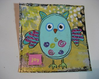 Original Mixed Media Artwork whimsical Owl art for kids room decor or nursery art 4 x 4 inch Miniature