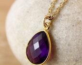 50 OFF SALE Gemstone Necklace - Teardrop Pendant, Pear Shape Necklace - Choose Your Gemstones