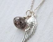 25% OFF Moss Amethyst and Wing Charm Necklace - Sterling Silver