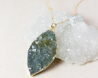 ON SALE Leaf Druzy Layering Necklace – Choose Your Druzy – Aqua Chalcedony