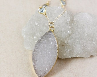 ON SALE Grey White Leaf Druzy Necklace – Blue Topaz