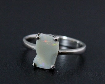 40% OFF Freeform Opal Ring - White Opal - Sterling Silver
