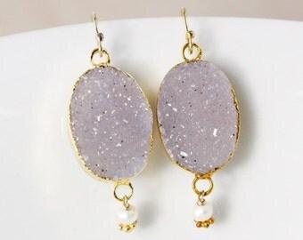 50% OFF Purple Druzy Dangle Earrings – Freshwater Pearls