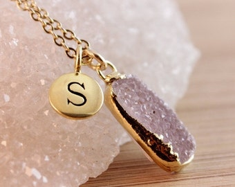 50% OFF Druzy and Initial Charm Necklace - Personalized Jewelry - Choose Your Druzy