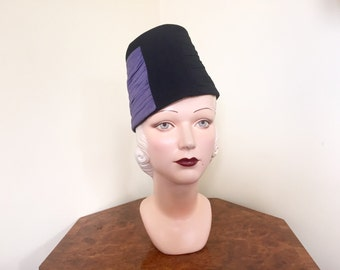 Vintage 1930s hat High fashion black fur felt with blue/lilac jersey. The French Room 22