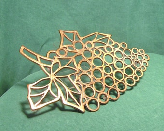 Charming Vintage Brass Footed Trivet with Grape Design Motif