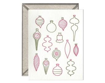 Midcentury Modern Vintage Christmas Ornaments letterpress card