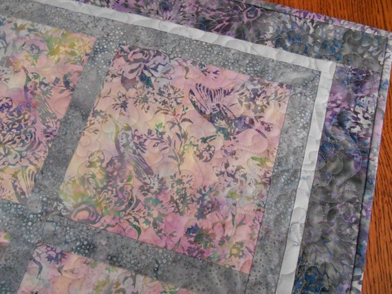 Hummingbird Quilted Table Topper in Purple Grey Blue Batiks, Quilted Batik Table Topper, Square Quilted Table Mat, Quiltsy Handmade