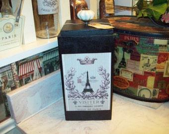 FRENCH Organizer box Eiffel Tower storage box, PARIS decor,French decor,SHABBYchic,Paris bathroom,Paris bedroom decor,French bedroom decor