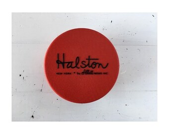 VINTAGE 80s red HALSTON hat box