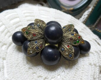 Antique Little NEMO Black Pearl and Czech Crystal BRASS Brooch Mourning FREE Shipping