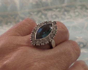 Art Deco Sapphire Marquis & CZ Cocktail Ring Engraved Antique Size 6.25