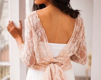 Lace shrug, Rose gold shrug, convertible wrap top, wedding accessories, rose gold lace top, versatile wrap top, lace shrug, lace bolero
