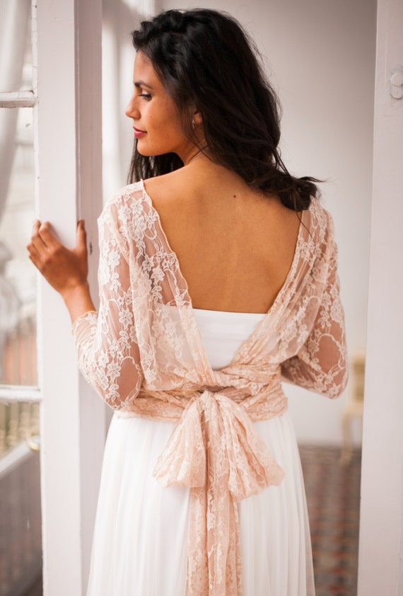 Lace shrug rose gold shrug convertible wrap top wedding for How to dress for a wedding